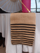 Quasimoon Vintage Burlap Table Runner w/ Black Striped Pattern (12 x 108) by PaperLanternStore