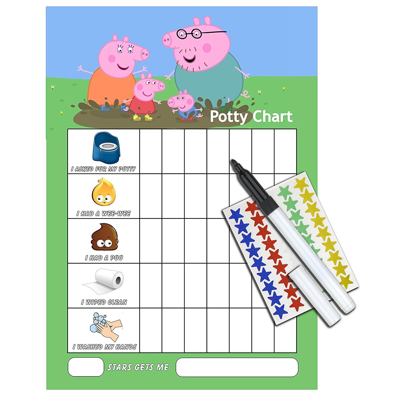 PEPPA PIG POTTY TOILET TRAINING reward Chart + Pen & Free Star