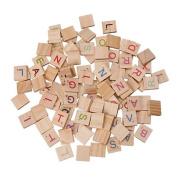 Baokee® 100X Wooden Scrabble Tiles Letter Alphabet Scrabbles Number Crafts Alphabet Toy