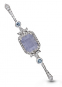 Sterling Silver, Blue Chalcedony, Blue Topaz Stick Pin, Bridal Bouquet Pin The Betty by With You Lockets