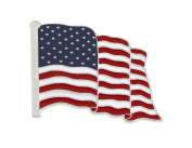 Wholesale American Flag Enamel Lapel Pin-- PROUDLY MADE IN USA (Silver Tone)