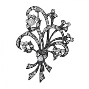 Van Kempen Art Nouveau Pearl Bouquet Brooch with Crystals in Sterling Silver Pin