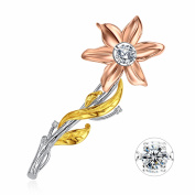 Devuggo Dancing Diamond Rose Gold Plated Sterling Silve Dancing CZ in Montion 0.76 TCW Flower Bouquet Brooch Pin