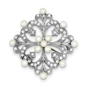 Sterling Silver FW Cultured Pearl & CZ Pin