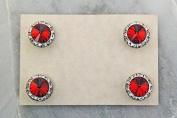 Finishing Touch Magnetic Tack Pin - Light Siam Red Stone - Silver Finish