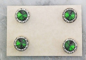 Finishing Touch Magnetic Tack Pin - Emerald Green Stone - Silver Finish
