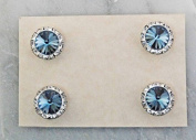 Finishing Touch Magnetic Tack Pin - Denim Light Blue Stone - Silver Finish