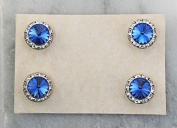 Finishing Touch Magnetic Tack Pin - Blue Sapphire Stone - Silver Finish