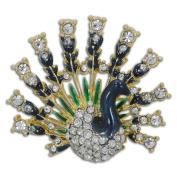 Peacock with Austrian Crystals Enamel Brooch Pin