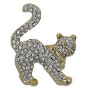 Cat Crystal Bejewelled Brooch Jewellery Pin