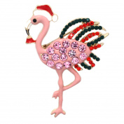 cocojewelry Pink Flamingo Santa Clause Hat Bird Brooch Pin Christmas Jewellery