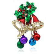 cocojewelry Christmas Bells Colourful Jingle Bells Poinsettia Pin Brooch Holiday Jewellery