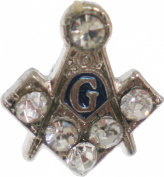 Mason Blue House Sterling Silver Rhinestones Small Lapel Pin [Silver - 1cm ]