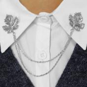 Evelots Vintage Antique Silvertone Leaf Sweater Clip Pin,Fashion Collar Clip Pin