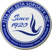 Zeta Phi Beta Sorority, Inc. Since 1920 Round Lapel Pin [Silver - 2.5cm ]