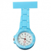 Rubberized Plastic Pin Fob Brooch Pendant Hanging Nurse Pocket Watches,Sky blue colour