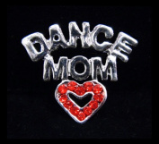 #13472 Rhinestone Casted Dance Mom with Heart Pin - Silver Plated