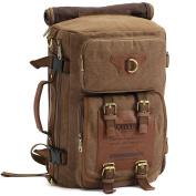 S-ZONE 3 - Ways Vintage Canvas Laptop Backpack Travel Rucksack Handbag Camping Backpack Shoulder Messenger Bag Satchel School Bags Crossbody Daypack