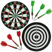 36CM DART BOARD DOUBLE SIDED & 6 DARTS TOURNAMENT TARGET HANGING HOME OFFICE PUB