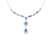 Faship Necklace Earrings Set Sapphire Blue Crystal Drop Floral