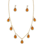 Fashion Jewellery Set Gold Plating Topaz Necklace Earrings Set