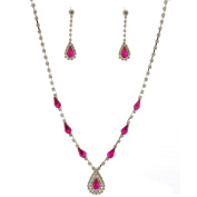 Fashion Jewellery Set Silver Plating Fuchsia Necklace Earrings Set