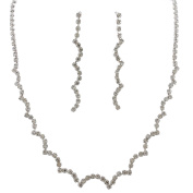 Fashion Jewellery Set Silver Plating Line Necklace Earrings Set
