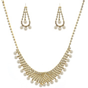 Fashion Jewellery Gold Plating Multi Strand Stone Pearl Accnet Necklace Earrings Set