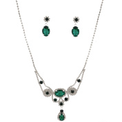 Fashion Jewellery Set Silver Plating Emerald Green Stone Necklace Earrings Set
