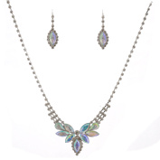 Fashion Jewellery Set Silver Plating Aurora Borealis Accent Necklace Earrings Set