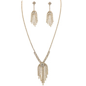 Fashion Jewellery Set Gold Plating Necklace Dangle Earrings Set