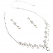 Fashion Jewellery Set Silver Plating Oval Cut Necklace Earrings Set