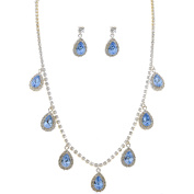 Fashion Jewellery Set Silver Plating Light Sapphire Necklace Earrings Set