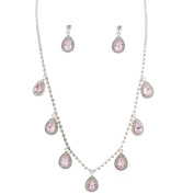 Fashion Jewellery Set Silver Plating Light Rose Necklace Earrings Set