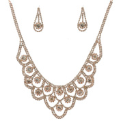 Jewellery Set Rose Gold Plating Necklace Dangle Earrings Set