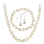 Sterling Silver Freshwater Cultured Pearl Jewellery Necklace, Bracelet Earring Set