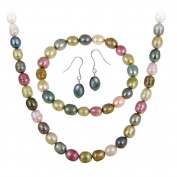 Sterling Silver Freshwater Cultered Multi Colour Pearl Necklace, Bracelet, Earring Jewellery Set