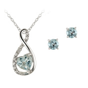 Sterling Silver Blue Topaz & Diamond Accent Infinity Heart Necklace and Earrings Set