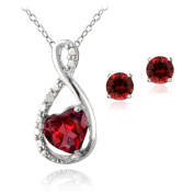 Sterling Silver Created Ruby & Diamond Accent Infinity Heart Pendant and Stud Earrings Set