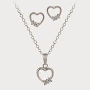 Sterling Silver Open Heart CZ Stones Pendant & Earrings Set