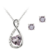 Sterling Silver Amethyst & Diamond Accent Swirl Heart Necklace and Earrings Set