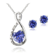 Sterling Silver Violet CZ & Diamond Accent Infinity Heart Pendant and Stud Earrings Set