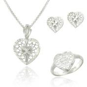 Sterling Silver Filigree Heart Pendant Necklace, Stud Earrings, Ring- Jewellery Set