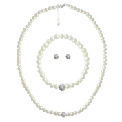 Sterling Silver Freshwater Cultured White Pearl & Crystal Fireball Necklace, Bracelet & Earrings Set
