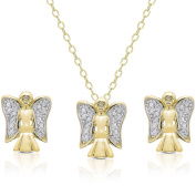 Finesque Diamond Accent Holiday Angel Jewellery Set