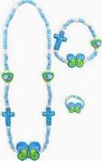 Jewellery Set-Cross/Butterfly-Elastic-Blue-Fimo