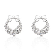 Kate Bissett E50160R-C02 Holiday Wreath Clear Crystal Earrings