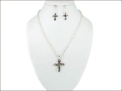 Necklace Earring Set-Cross Curly-Silver