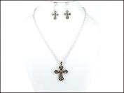 Necklace Earring Set-Cross Stripes-Silver