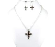Necklace Earring Set-Cross Black Stone-Silver